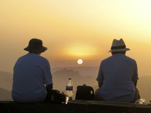 Der Sonnenuntergang, der von Pico angesehen wird, tun Arieiro - Madeira Stockfotografie