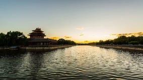 Der Sonnenuntergang ist in der Verbotenen Stadt stock footage