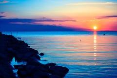 Der Sonnenuntergang in Schweden Lizenzfreies Stockfoto