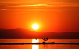Der Sonnenuntergang und das Segelboot Stockfoto