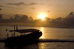 Der Sonnenuntergang von Bali Stockbild