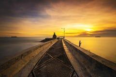 Der Sonnenuntergang von West-sumatera Pariaman Beach-4 Stockfoto