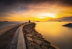 Der Sonnenuntergang von West-sumatera Pariaman Beach-3 Stockbilder