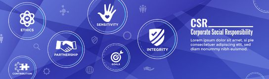 Der sozialen Verantwortung Ehrlichkeit der Titel-Netz-Fahnen-w, Integrität, Zusammenarbeit, Netzfahnentitel lizenzfreie abbildung