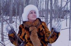 Der Spaßmodellglücklichen menschen des Winters einer Waldder naturpark-Kleidungs Personenmode des Gesichtes lächelnder Mantelwint Stockbild