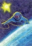 Der Spacewalk Malendes nasses Aquarell auf Papier Naive Kunst Zeichnungsaquarell auf Papier stock abbildung