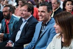 Der spanische Premierminister und PSOE-Kandidat in den folgenden Wahlen Pedro Sanchez in einer Parteikonferenz in Caceres stockfotografie