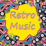 Der spielerkopfhörer der Retro- Technikmusik des Hippies des Rahmens alten Retro- AudioMagnetband- für Tonaufzeichnungenrecorder  stock abbildung