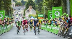 Der Sprint - Tour de France 2016 lizenzfreie stockbilder