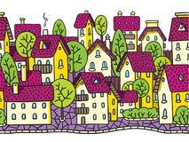 Der Stadt nahtloses Muster horizontal mit Dächern Stockfotografie