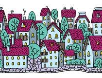 Der Stadt nahtloses Muster horizontal mit Dächern Stockfotos