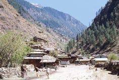 1977 Der Stadtrand des Dorfs von Manikaran Lizenzfreie Stockbilder