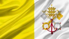 Der Stadtstaat Vatikan fahnenschwenkend mit dem Wind, Illustration 3D Stockfoto