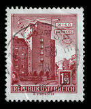 Der Stempel, der in Österreich gedruckt wird, zeigt Bild des Erdberg-Bereichs von Wien Lizenzfreies Stockbild