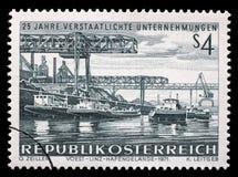 Der Stempel, der in Österreich gedruckt wird, zeigt Voest Linz Hafengelande Stockfoto