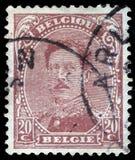 Der Stempel, der in Belgien gedruckt wird, zeigt Bild von König Albert I Stockbilder