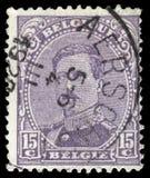 Der Stempel, der in Belgien gedruckt wird, zeigt Bild von König Albert I Stockfotografie
