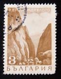 Der Stempel, der in Bulgarien gedruckt wird, zeigt Erma--Jdrelotogebirgspass, circa 1968 Lizenzfreies Stockbild