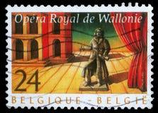 Der Stempel, der durch Belgien gedruckt wird, zeigt königliche Oper von Wallonie Stockfotos