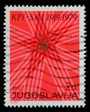 Der Stempel, der durch Jugoslawien gedruckt wurde, weihte dem 60. Jahrestag der kommunistischen Partei von Jugoslawien ein Stockfoto
