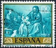 Der Stempel, der durch Spanien gedruckt wird, Shows stellen heilige Familie des Vogels durch Murillo dar Stockbilder