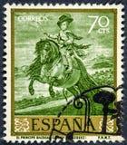 Der Stempel, der durch Spanien gedruckt wird, zeigt Bild Prinzen Balthazar Charles durch Velazquez lizenzfreie stockfotografie