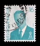 Der Stempel, der im Belgien gedruckt wird, zeigt König Albert II von Belgien Stockfoto