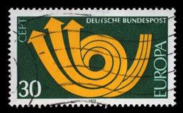Der Stempel, der im DEUTSCHLAND gedruckt wird, zeigt CEPT Stockbilder