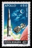 Der Stempel, der im Rumänien gedruckt wird, zeigt Apollo 4, 5 und 6, Höhepunkte von US Apollo Space Program Lizenzfreie Stockbilder