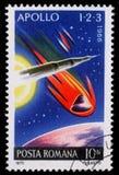 Der Stempel, der im Rumänien gedruckt wird, zeigt Apollo 1, 2 und 3, Höhepunkte von US Apollo Space Program Stockfoto