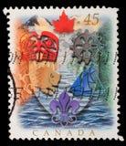 Der Stempel, der in Kanada gedruckt wird, zeigt kanadische Wappenkunde Lizenzfreie Stockfotos