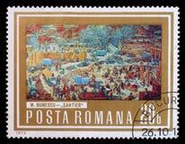 Der Stempel, der in Rumänien gedruckt wird, Shows stellen Bau-Bereich durch M dar Bunescu Stockfoto