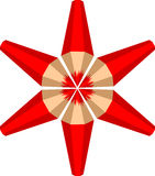 Der Stern gemacht von den roten Bleistiften Lizenzfreies Stockfoto