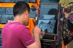 Der Stich des Porträts von Mao Zedong stockbild