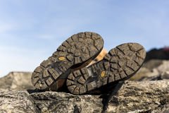 Der Stiefel der Wintersport-Artfrau Natürliches Leder und Pelz schwer Stockfotos