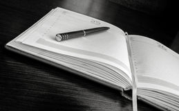 Der Stift liegt auf offenen Leerseiten eines Organisators Stockbild