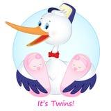 Der Storch mit Zwillingsmädchen Stockfotografie