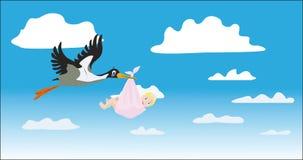 Der Storch trägt das Mädchen Lizenzfreie Stockfotografie