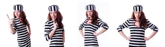 Der Strafgefangeneverbrecher in gestreifter Uniform Lizenzfreie Stockfotografie