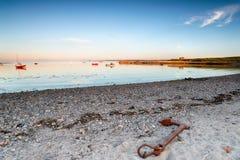 Der Strand in heiliger Insel stockbilder