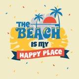 Der Strand ist meine glückliche Platz-Phrase Sommerzitat lizenzfreie stockfotos