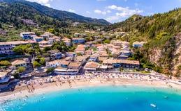 Der Strand von Agios Nikitas nahe Lefkas-Stadt, Griechenland Stockfotos
