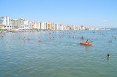 Der Strand von Durres Stockfotos