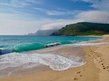 Der Strand von Finesterre das Ende des Welt-Camino Des Santiago stockfotografie