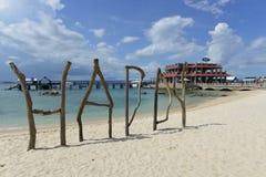 Der Strand von Wuzhizhou-Insel in Sanya, Hainan, China lizenzfreie stockfotos