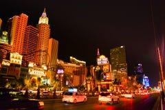Der Streifen in Las Vegas nachts Stockfotos
