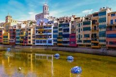 Der Strom von Girona Stockfotografie