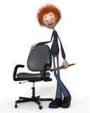 Der Student 3D mit einem Stift und einem Stuhl Stockbild