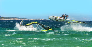 Der Surfer IL Serfista Windsurf springendes Isola dei   Stockbild