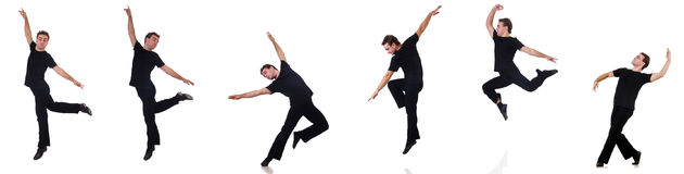 Der Tänzer lokalisiert auf dem weißen Hintergrund Stockbilder